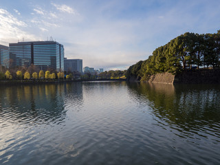 Tokyo Marunouchi buildings and imperial palace moat