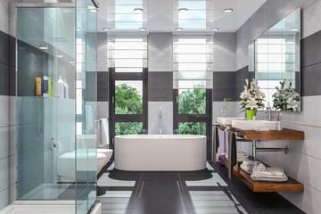 Modernes Badezimmer In Weiß Und Schwarz Mit Dusche, Badewanne, WC, Bidet  Und Zwei