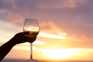 wine glass,sunset,Time,