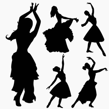 set of silhouettes of dancers