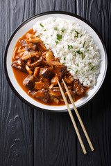 Japanese cuisine: Spicy beef with onions and mushrooms, as well as rice (Hayashi rice) close-up. Vertical top view