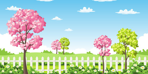 Wall Mural - Sping landscape with trees, flowers and fence