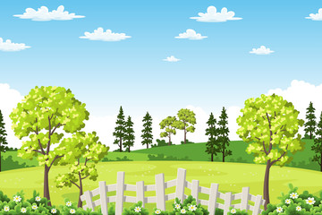 Wall Mural - Summer landscape with trees, flowers and fence