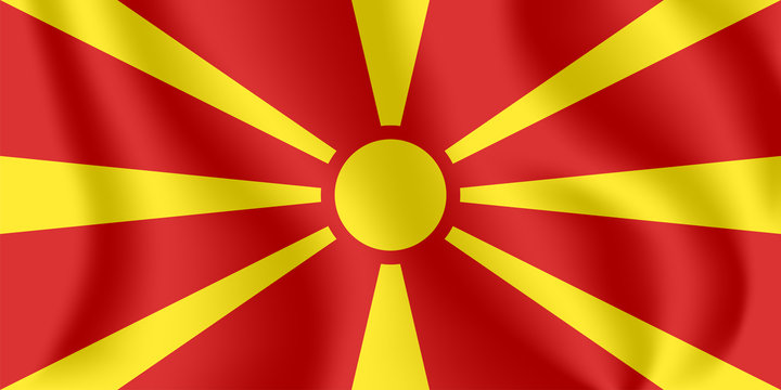 Flag of Macedonia. Realistic waving flag of Republic of Macedonia. Fabric textured flowing flag of the former Yugoslav Republic of Macedonia (FYROM).
