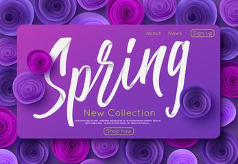 Ultra violet spring new collection banner design for online shopping, vector illustration