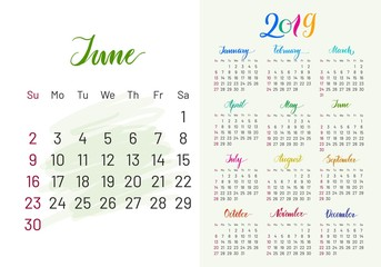 Colorful planner, 2019, June separately, white-blue background, lettering, artboard. Stylish annual calendar for modern people. Vector illustration of chart