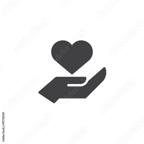 Heart In Hand Vector Icon Filled Flat Sign For Mobile Concept And