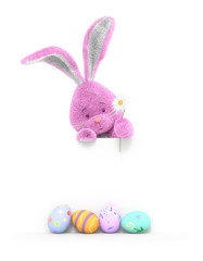 A funny rabbit and Easter eggs in spring time