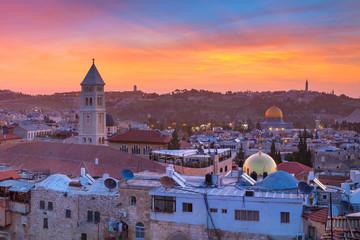 Jerusalem. Cityscape image of old town of Jerusalem, Israel at sunrise.