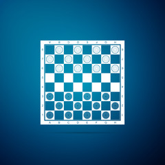 Board game of checkers icon isolated on blue background. Ancient Intellectual board game. Chess board. White and black chips. Flat design. Vector Illustration