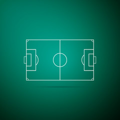 Football field or soccer field icon isolated on green background. Flat design. Vector Illustration