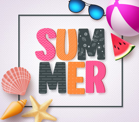 Summer 3D text banner design with colorful patterns and summer beach holiday elements in a white texture background and boarder. Vector illustration.