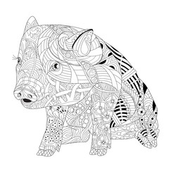 Piggy coloring book for adults vector