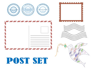 vector set of elements postage for invitation wedding card..