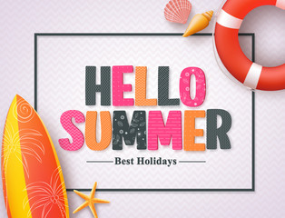Hello summer vector banner design template with pattern 3D colorful text and beach elements in a white pattern background and boarder. Vector illustration.