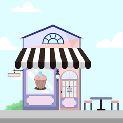 Ice Cream Shop Store Front Building Background Illustration