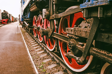 Old Soviet locomotive wheels close