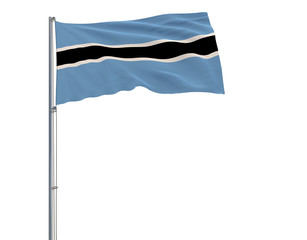 Isolate flag of Botswana on a flagpole fluttering in the wind on a transparent background, 3d rendering, 4k prores footage, alpha transparency