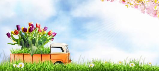 Kleines Auto bringt den Frühling.