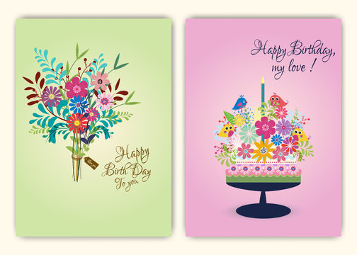 Happy birthday on floral background in colorful theme.