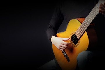Acoustic guitar player. Classical guitarist playing guitar classic