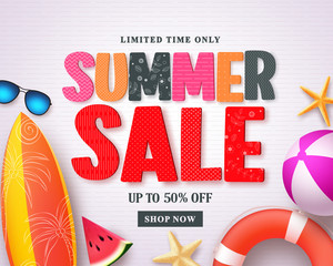 Summer sale vector banner design template with red sale text and colorful beach elements in white pattern background for summer holiday discount promotion. Vector illustration.