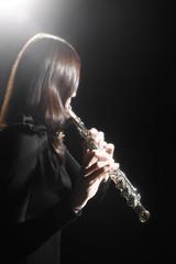 Poster Muziek Flute player. Flutist playing flute music instrument