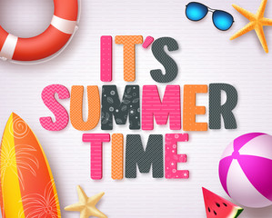 It's summer time vector background design with colorful summer 3D text and beach elements in white pattern background for summer season design template. Vector illustration.