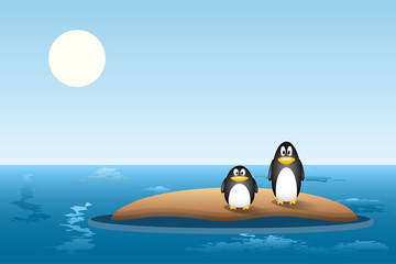 two penguins are left behind on a small island of sand after the ice has melted. global warming concept, climate change