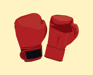 a pair of boxing gloves with flat style and yellow background
