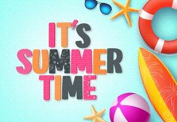 It's summer time background banner template with colorful 3D summer text and beach elements in blue pattern background for summer season. Vector illustration.