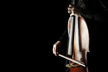 Photo sur Aluminium Musique Cello player. Cellist hands playing cello with bow