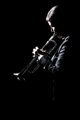 Poster Muziek Trumpet player jazz musician playing brass instrument