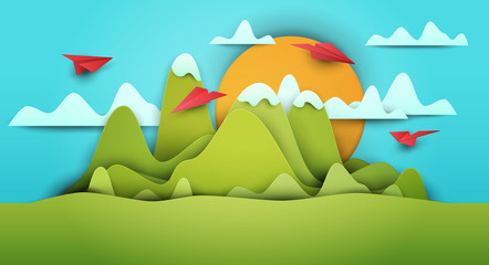 Acrylic Prints Turquoise 3d vector paper cut green landscape with mountains, airplanes, clouds . Cartoon art illustration in minimalistic craft carving style. Modern layout colorful concept for background cover, poster, card.