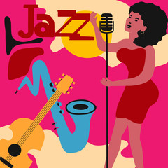 Jazz music festival colorful poster with music instruments and woman singer. Female singer with guitar and saxophone flat vector illustration. Jazz concert