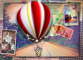 Deurstickers Imagination Vintage postcard with avenue, hot air balloon and old stamps