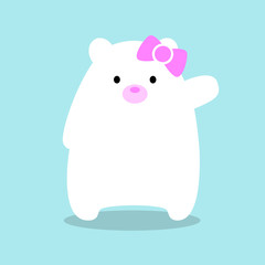 "Illustration of a kawaii white polar bear cub waving ""hello"" just wearing a cute pink bow over a blue background."