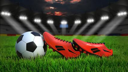 Fußball und Fußballschuhe auf Rasen im Stadion bei Nacht mit Scheinwerfern, 3D Rendering