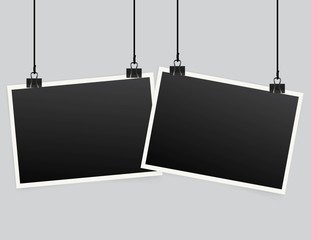 Blank photo frame set hanging on a clip. Retro vintage style. Realistic detailed photo icon design template. Vector solated on transparent background