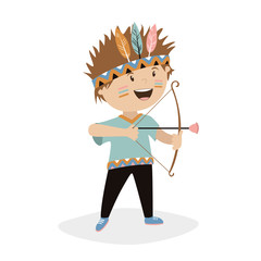 character child. the boy shoots from the bow. game of the Indian. vector