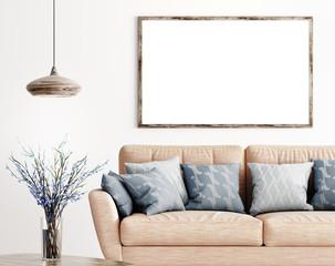 Mock up wooden frame in living room 3d rendering