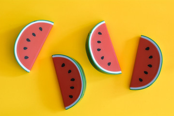 Watermelon abstract minimal yellow background, Food concept