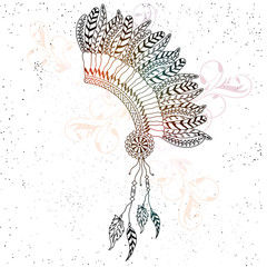 Hand drawn War Bonnet with ethnic feathers, Beautiful Headdress, Creative boho style vector illustration or element.