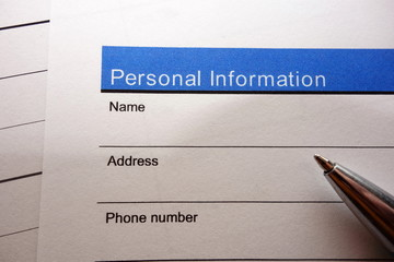 Personal information form Wall mural