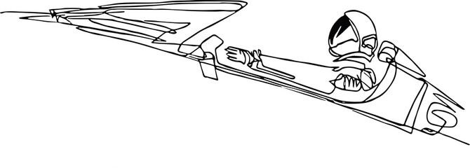 Starman astronaut on cabriolet in space, continuous line Wall mural