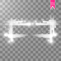 Abstract luxury white vector light flare spark light effect. Sparkling glowing rectangular frame on transparent. Starlight moving background. Glow blurred space for message or logo.