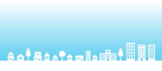 青空と街並み|背景素材