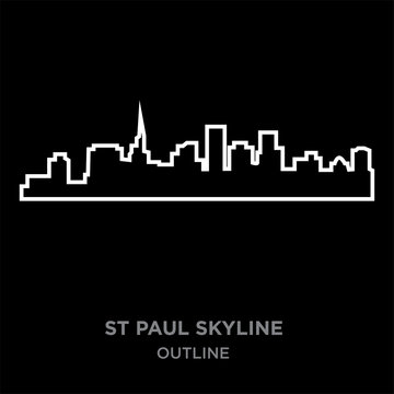 white border st paul skyline outline on black background, vector illustration
