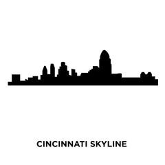 cincinnati skyline silhouette on white background, vector illustration