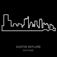 white border austin skyline outline on black background, vector illustration
